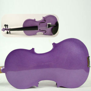Hot Sale Purple Colour Plywood Practice Violin for Kids pictures & photos