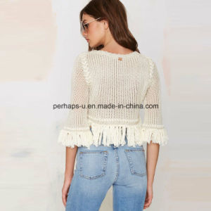 Fashion Pullover Women Hollow Tassels Short Sweater Ladies Wear pictures & photos