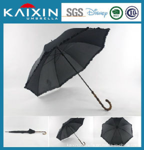 BSCI Wooden Handle Straight Windproof Umbrella