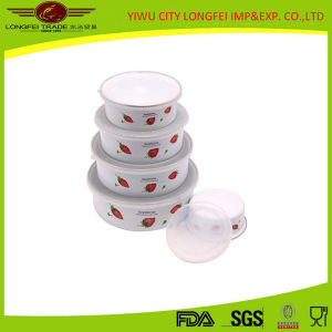 High Quality 5PCS Enamel Salad Bowl with Plastic Lid pictures & photos