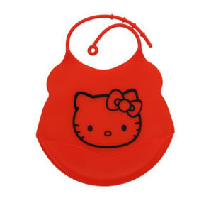 2015 China Promotional High Quality Red Color Baby Silicone Bib pictures & photos