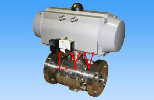 Pneumatic Flanged Cast Steel 2 PCS Ball Valve pictures & photos