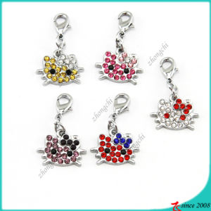 Rhinestone Kitty Head Charms Pendant Wholesale (MPE)