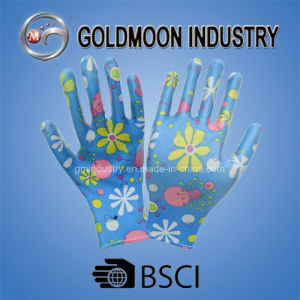 Colorful Imprint Blue Nitrile Safety Work Glove pictures & photos