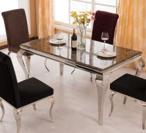 Elegant Brown Marble Dining Table Set for Home Use (SDT-008) pictures & photos