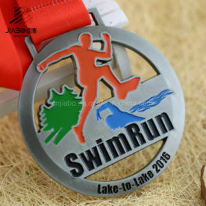 Free Sample Die Cut Custom Metal Swim Run Medal with Ribbon pictures & photos