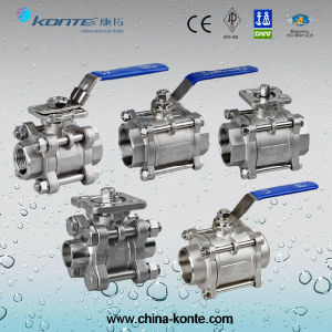 Ss304/Ss316 Thread 3PC Ball Valve with Lever pictures & photos