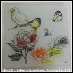 4mm Square Tempered Glass Coaster with Bird Decal Pattern pictures & photos