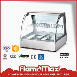 Hw-838 Food Warmer/ Stainless Steel Curved Glass Heater with 2-Pans pictures & photos