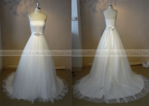 One Shoulder Ivory Tulle Wedding Dress