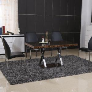 Modern Home Glass Metal Dining Room Table Furniture Set (ET71 & EC58)