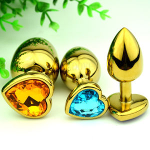 Golden Heart Shaped Stainless Steel Crystal Jewelry Anal Butt Plug Sex Toys Small Size 28mm X 70mm GS0312 pictures & photos