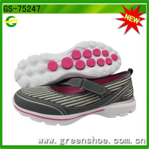 Latest New Outsole Hook & Loop Women Sneaker Walking Shoes pictures & photos