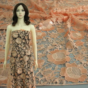 Orange Floral Chemical Lace with Transparent Sequins on It
