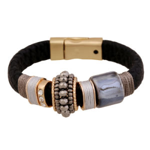 Rhinestone Fashion Jewellery PU Leather Bracelet