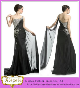 2014 Charming A Line One Shoulder Sleeveless Floor Length with Beaded Black Dress Wedding Crystal (HS021) pictures & photos