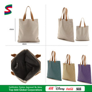 High Quality Canvas with Leather Tote Shopping Bag