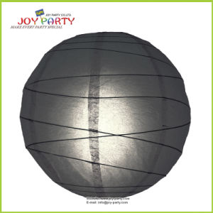 Black Irregular Ribbed Round Paper Lanterns