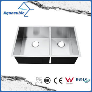 Man-Made Stainless Steel Double Bowl Kitchen Sink (ACS3320S) pictures & photos