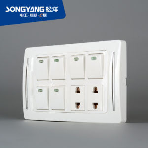 New Electric Switch White Series 6gang+2socket Wall Socket