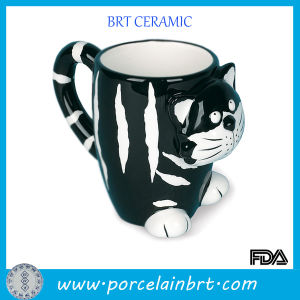 Lovely Green and White Ceramic Cat Mug pictures & photos