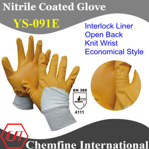 Interlock Glove with Anti-Microbial Yellow Nitrile Coating & Open Back & Knit Wrist/ En388: 4111/ Economical Style (YS-091E) pictures & photos