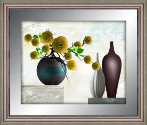 P2303b Wholesale Mirror Frame Painting Flower Wall Art Oil Paintting