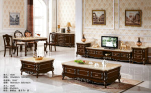 Europe Wooden Home Furniture, TV Set, Marble Coffee Table (A302) pictures & photos