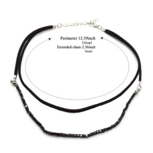 Double Layer Black Leather with Square Glass Beads Choker Necklace pictures & photos