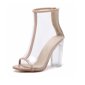 Clear Peep-Toe Women Fashion High Heel Sandals (HT-S1001) pictures & photos