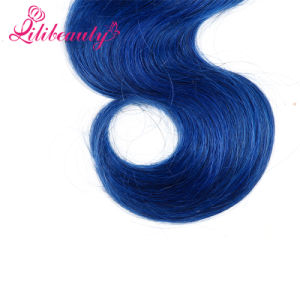 100% Natural Human Hair Wigs Short Curly, Ombre Blue Color pictures & photos