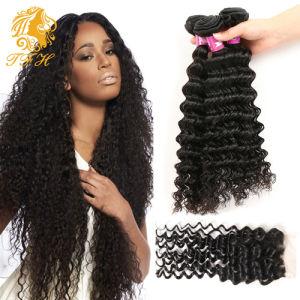 Peruvian Virgin Hair Bundles with Closure Peruvian Deep Wave Virgin Hair Bundles with Lace Closure Human Hair Weave pictures & photos