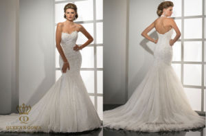 Mermaid Sweetheart Sweep Train Tulle Lace Wedding Gown Bridal Dresses