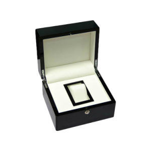 Custom High Gloss Black Lacquered Wooden Single Watch Packaging Box pictures & photos