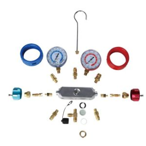 Customlized 2-Valve Manifold Refrigerant Pressure Gauge Set for R134A, R410A Pr1010 pictures & photos