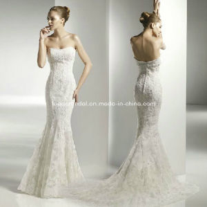 Strapless Bridal Gown Ivory Lace Beaded Mermaid Wedding Dress H13432 pictures & photos