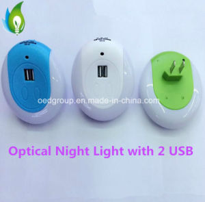 Optical Induction Night Lamp with USB for Charging Mobile Phone pictures & photos