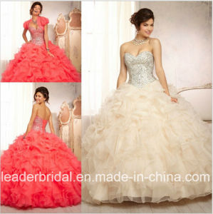 Ruffed Organza Wedding Dress Crystals Quinceanera Dress Ld15223 pictures & photos