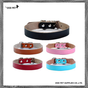 Plain Leather Collars Personalized Sliders Dog Collar Cow Leather Dog Collars Spc7018 pictures & photos