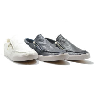 Stone Leather Fashion Casual Student Men Classical Zipper One Shoes pictures & photos