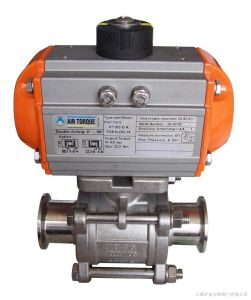 Sanitary Pneumatic Triclamped 3-PCS Encapsulated Ball Valve