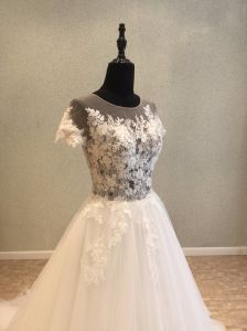 Short Sleeve Lace Evening Prom Bridal Gown Wedding Dress pictures & photos