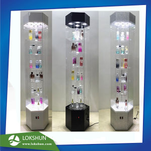 Rotating 4-Sided Acrylic Cosmetic Display with LED Light, Spinning Acrylic Perfume Display Rack OEM Factory China pictures & photos