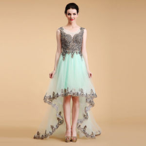 Modern Evening Dress with Short in Front and Long Skirt on The Back pictures & photos