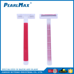Rubber Handle Twin Blade Disposable Manual Razor for Lady pictures & photos