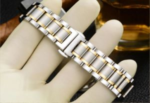 Hot Sale Classic Solid Stainless Steel Men′s Watch Band 5 Beads Fold Clasp Different Colors Watch Strap for Longines Link Bracelet pictures & photos