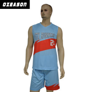 Blue/White Double Mesh Reversible Sportswear Kids Basketball Jersey pictures & photos