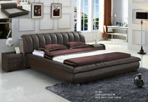 White Modern Genuine Leather Bed with Buckle (988) pictures & photos