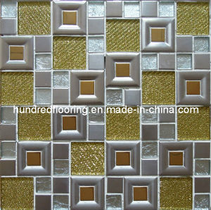 Glass Mix Stainless Steel Metal Mosaic Tile (SM238) pictures & photos