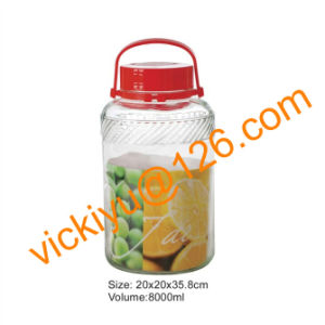 8L Big Fruit Wine Glass Jars with Red Plastic Lid